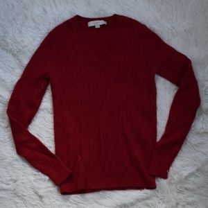 Ann Taylor LOFT Red V-Neck Sweater